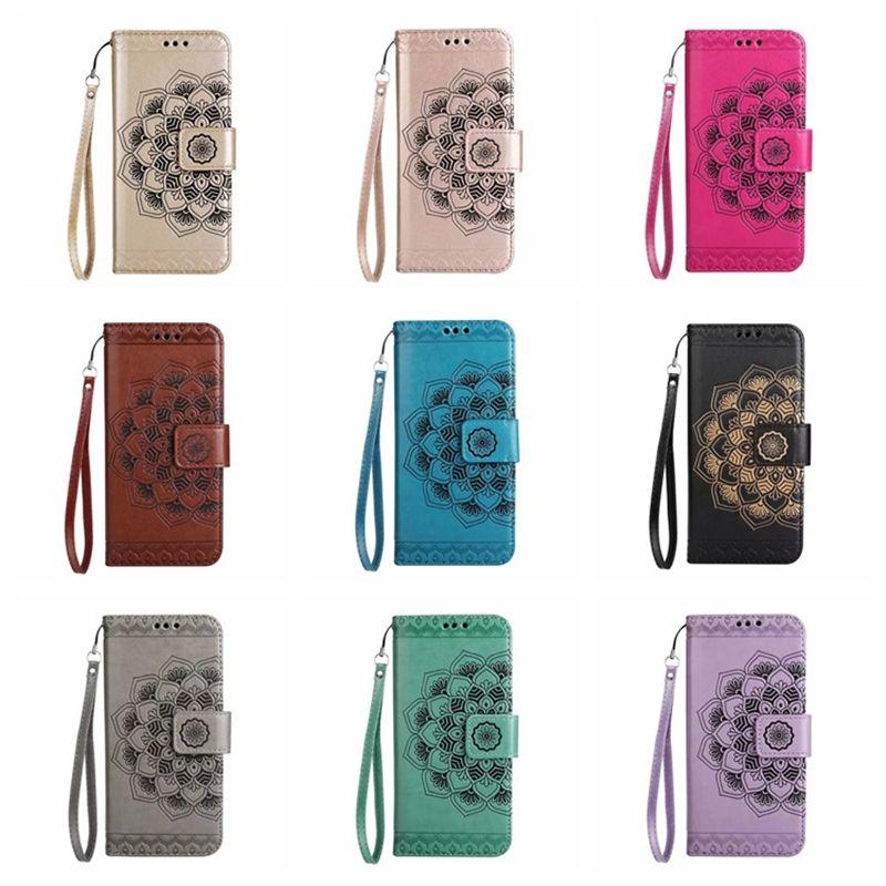 iPhone XS MAX 케이스 7 플러스 Xr Samsung S10 케이스 Galaxy Plus Note8 용 카드 포켓 및 암밴드가있는 새로운 양각 지갑 케이스