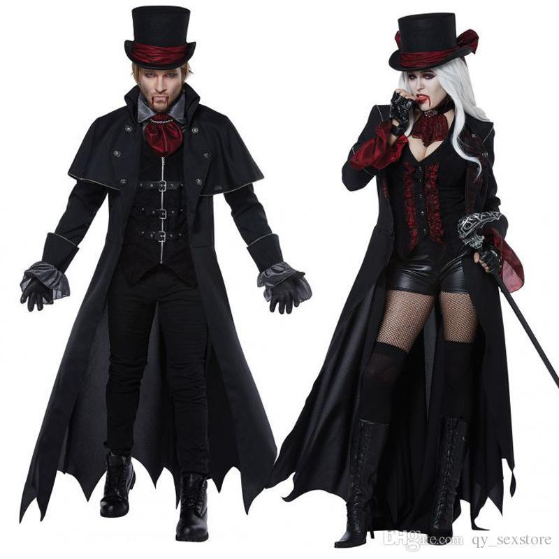 Halloween viktorianisches Kleid Cosplay Kostüme Set gruselige Vampir Hexe Kleidung Frauen Mädchen mittelalterliche Maskerade schwarz Fancy Maxi Kleider