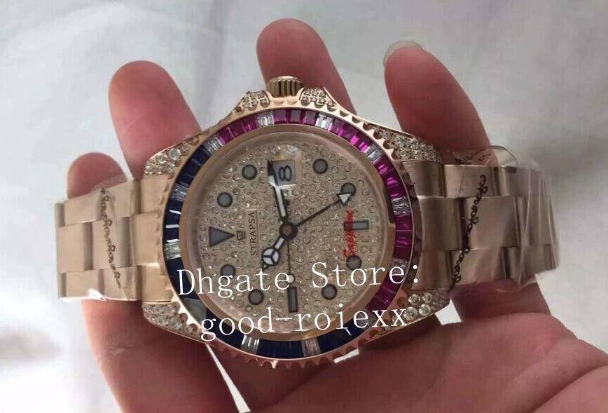 2 Cores Luxo Rose Gold Men Pave Dial Dial Dial Bezel Assista Mecânica 2813 Homens Relógios Sapphire 116758 Mestre II Ponto de Relógio Perpétuo