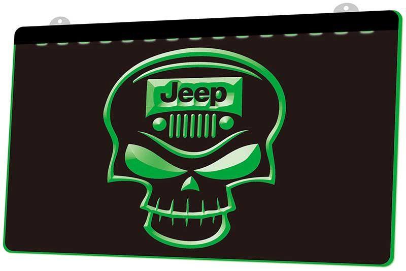 LD1985 (g) Jeep череп неоновый свет знак декор Бесплатная доставка Dropshipping Оптовая продажа 8 цветов на выбор