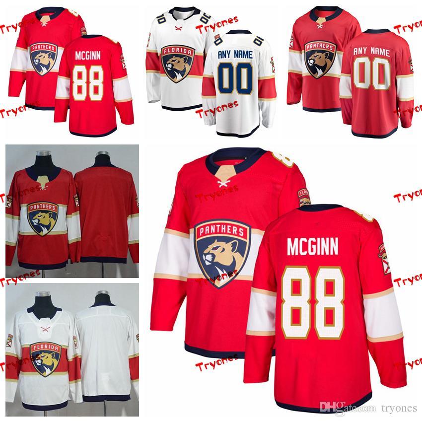 Les chandails cousus Jamie McGinn des Panthers de la Floride 2019 Personnaliser la maison Chemises rouges # 88 Maillots de hockey Jamie McGinn S-XXXL