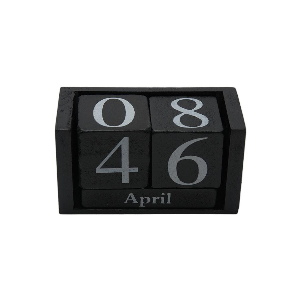 Gifts Planner Month Date Display DIY Reusable Desk Decoration Wood Calendar Desktop Living Room Home Office Decor Wood Block