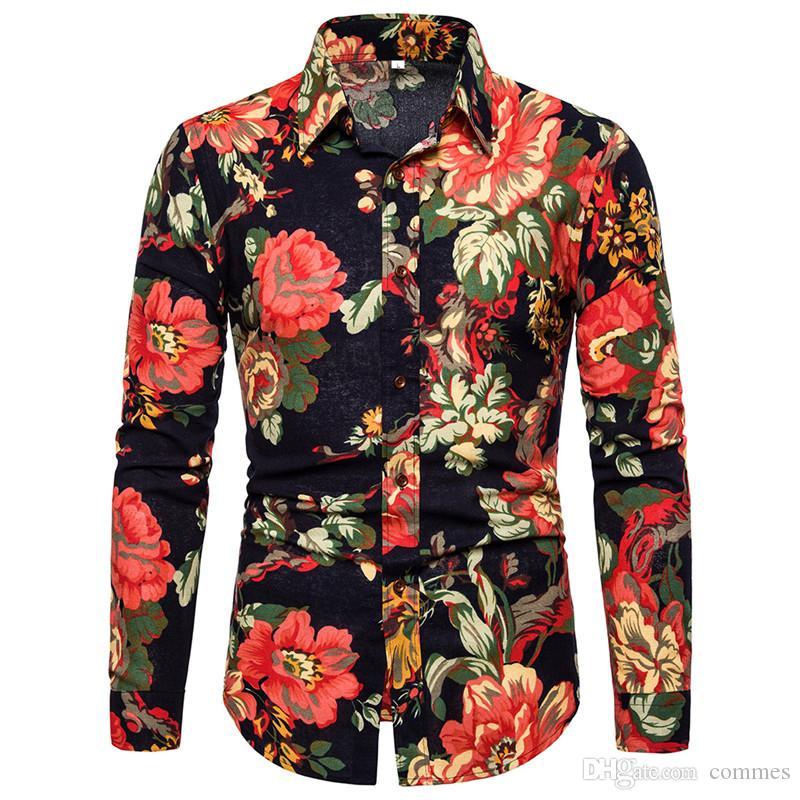 Floral Print Designer Mens Shirts Fashion manches longues Hommes Chemises simple boutonnage Casual Lapel hommes Neck Vêtements
