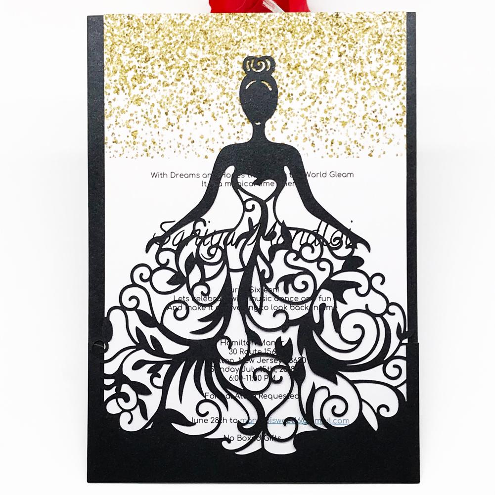 Hollow Laser Cut Pearl Paper Wedding Invitation Cards Fancy Dress Birthday Party Engagements Ceremony Grand Events Supplies