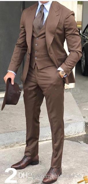 새로운 클래식 스타일 원 버튼 브라운 웨딩 신랑 턱시도 피크 옷깃 Groomsmen 남자 복장 브라 블 (자켓 + 바지 + 조끼 + 넥타이) 202