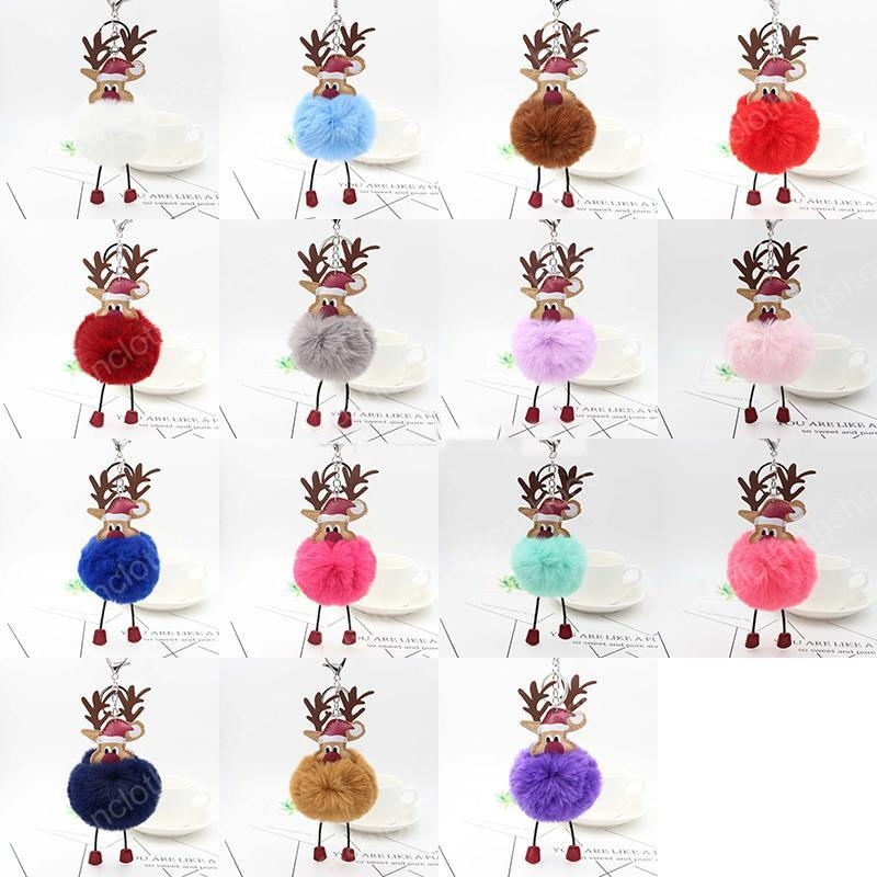 Christmas Elk Pendant Keychain 18cm Fur Ball Key Chains Xmas Ornaments Party Key Rings Favors Fashion Jewelry Accessories
