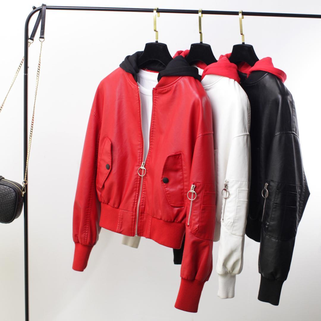 2018 여성 PU 가죽 자 켓 가을 겨울 두건 된 대형 봄버 재킷 긴 소매 패션 숏 코트 블루종 Femme 4189