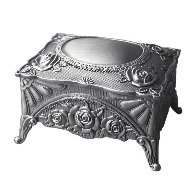 고전 고딕 양식의 금속 공주의 보석 스토리지 박스 사각형 새겨진 로즈 쥬얼리 케이스 합금 악세사리 상자 결혼식 호의