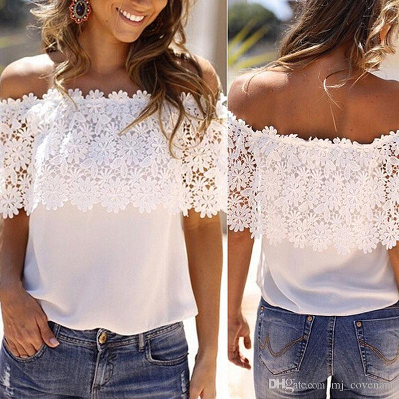 Moda Yaz Kadınlar Dantel Yelek Üst Tankı Casual Bluz ShoulderT -Shirt Kapalı Tops