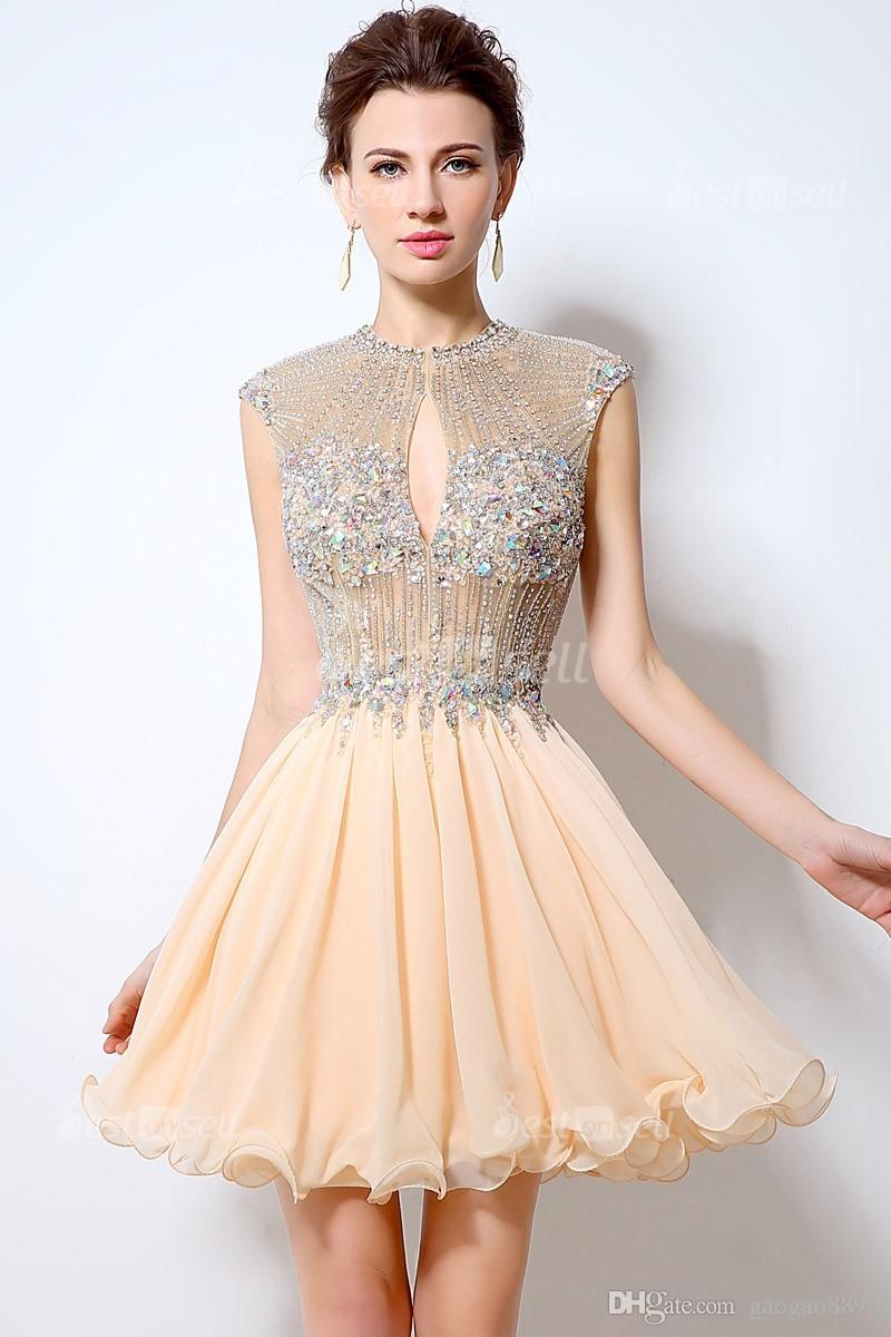 Sexy Charming Short Prom Dress Beading A-Line Chiffon O-Neck Backless Party Cocktail Gown Crystal Sleeveless Mini In Stock LX012