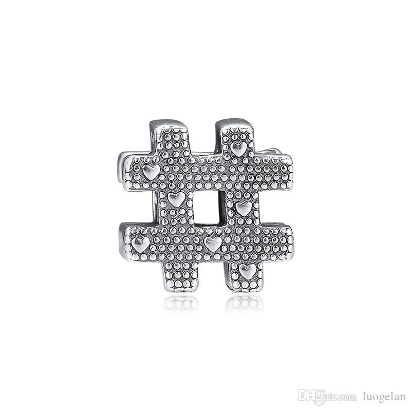 2019 Original 925 Sterling Silver Jewelry o charme Hashtag Símbolo Beads Fits Pandora Colar Pulseiras para mulheres que fazem