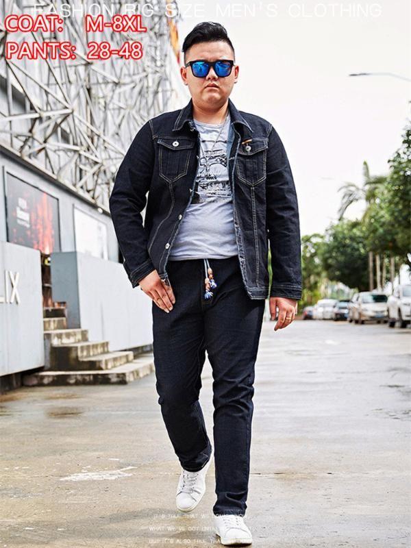 Jeans de mezclilla para hombres Chaqueta de mezclilla Hombres 2 Conjunto de dos piezas Primavera Otoño Tamaño 6XL 7XL 8XL Black Jean Pantalones Motocicleta Ropa Hombre Pantalones Pantalones