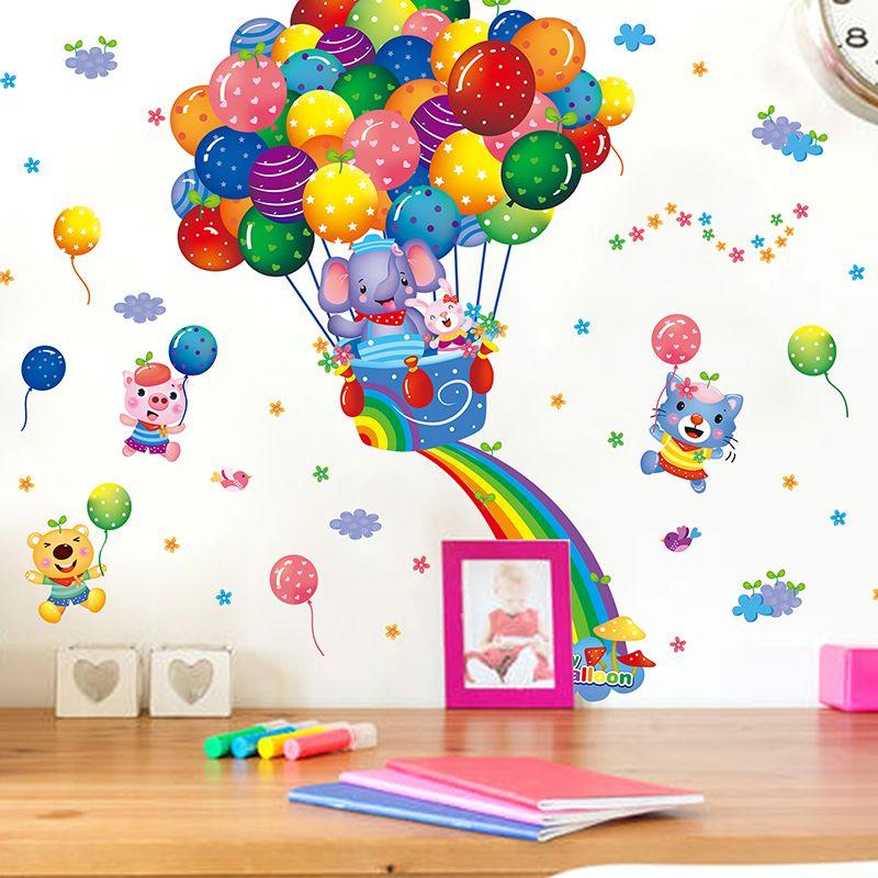 다채로운 뜨거운 공기 풍선 벽 스티커 PVC 소재 DIY 동물 Pegatinas 벽화 데칼 아이 방 장식