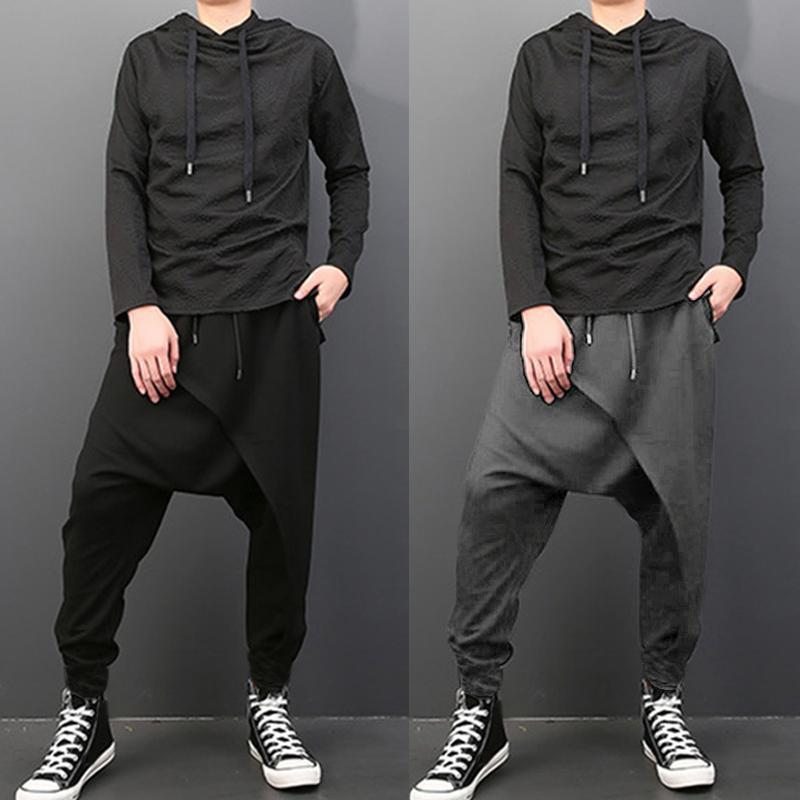 Más el tamaño ocasional de los hombres drapeado gota entrepierna Harem Hip-hop pantalones pantalones holgados pantalones de baile punk gótico Estilo Harem Hombres