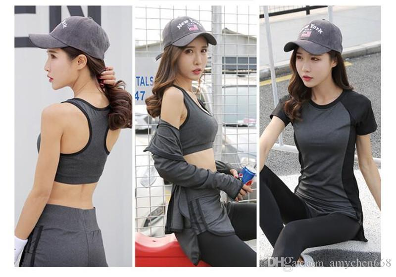 Womens Korean Slim Quick-dry Running Suit Yoga 5pc/1set Sportswear Fitness Yoga Sport Clothing Suit Girls Running Set Sport