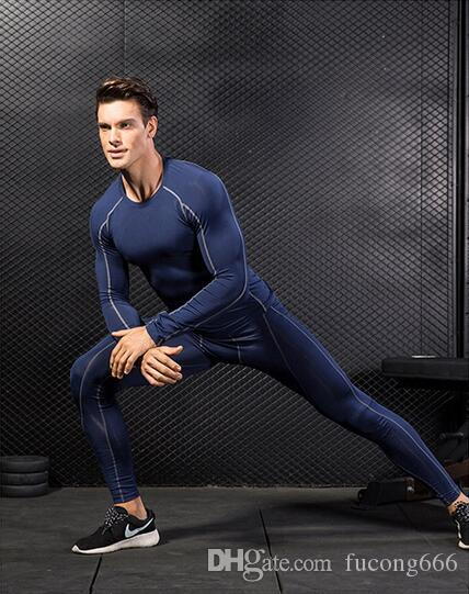 Der neue PRO PRO Body-Fitnesstrainingsanzug 03 für Männer ist schnell trocknende Kleidung für lange Ärmel + Hosen