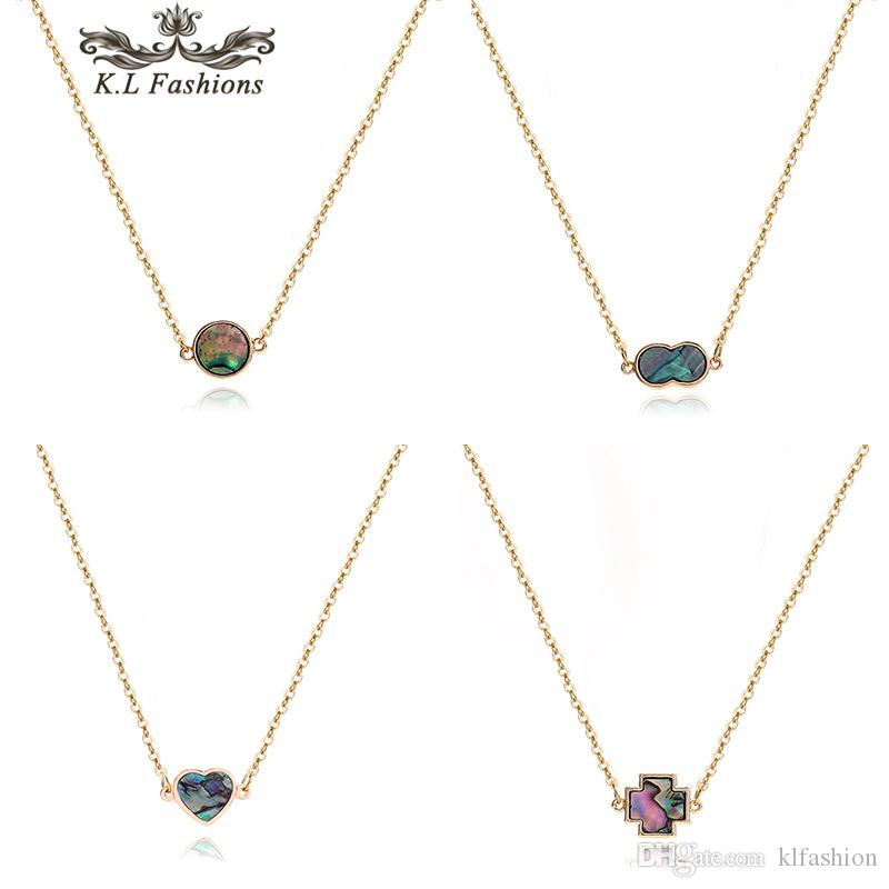 Collar colgante de diseño de moda Ronda de la cruz del corazón de los hexágonos del número 8 de la Mujer de cobre simple cadena de joyería collar partido Gargantillas