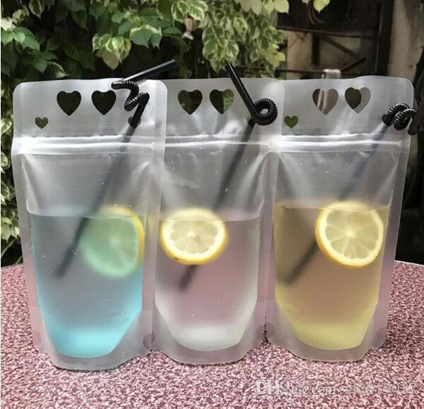 450 ml Transparente selbstversiegelte Kunststoff Herz Getränkebeutel DIY Getränkebehälter Trinkbeutel Fruchtsaft Lagerung Von Lebensmitteln 500 stücke