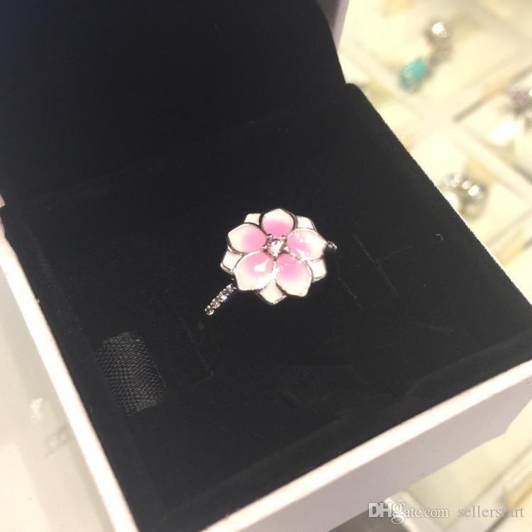 NEW Women Cute Pink enamel flowers Fashion RING with Original Box for Pandora 925 Sterling Silver Party Gift Rings Set