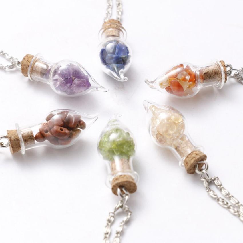 Toptan 10 adet Gümüş Kaplama İstek Şişe Ametist Taş kolye Link Zinciri Kolye Lapis Lazuli Moda Takı