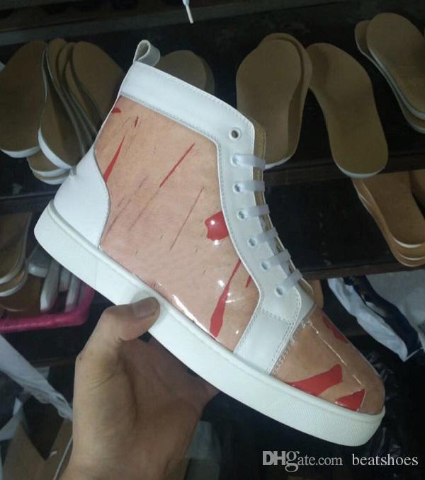 عالية الجودة الأحمر أسفل الأحذية الرجال النساء كرافت الجلود والبلاستيكية عالية أعلى المدربين الرجال شقة أحذية رياضية براون النسيج الأبيض أحذية جلدية الزفاف