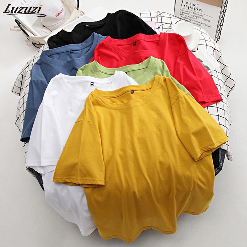Gizmosy Temel Pamuk Tişörtlü Kadınlar Yaz Yeni Büyük Boy Katı Tees 7 Renk Casual Gevşek Tişört Kore O Boyun Kadın M-4XL Tops