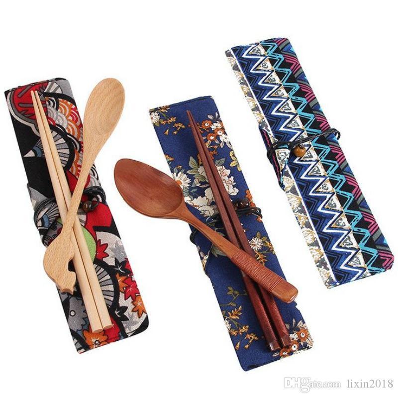 Nueva Vajilla Sets de madera de 2 piezas palillos cuchara Vajilla japonés / Set Viaje comer al aire libre Ware palillos de madera de época Conjunto de embalaje bolsa