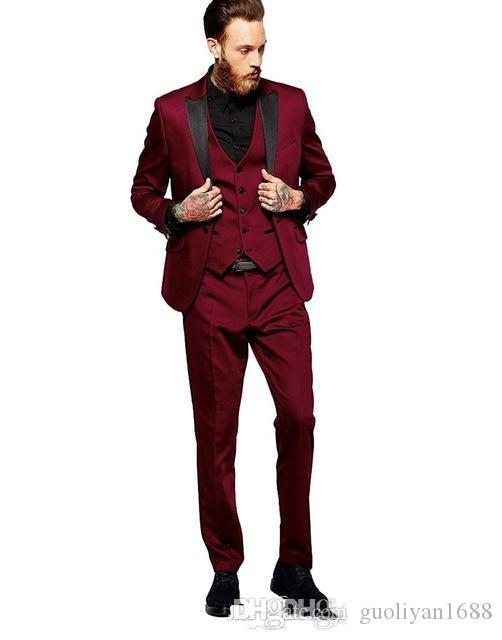 New Arrivals Burgundy Men Suits Peaked Lapel Slim Fit Tailor Made Groom Prom Tuxedos 3 Piece Blazer Jacket+Pants+Vest Terno