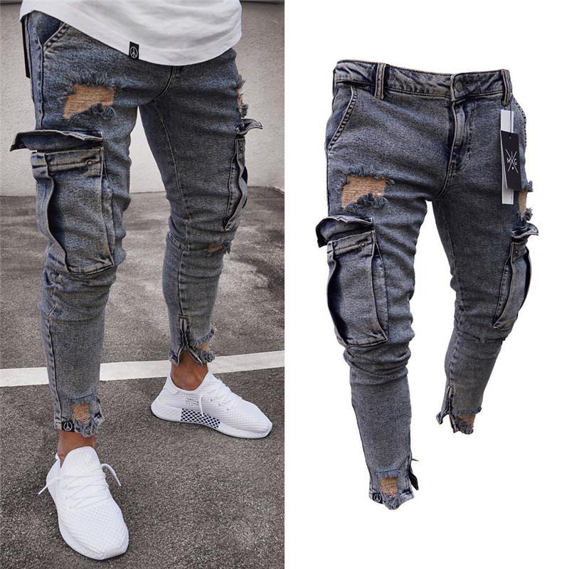 Длинные брюки карандаш рваные джинсы Тонкий весна Hole 2018 года Мужская мода Тонкие узкие джинсы для мужчин Hiphop Брюки Одежда Одежда