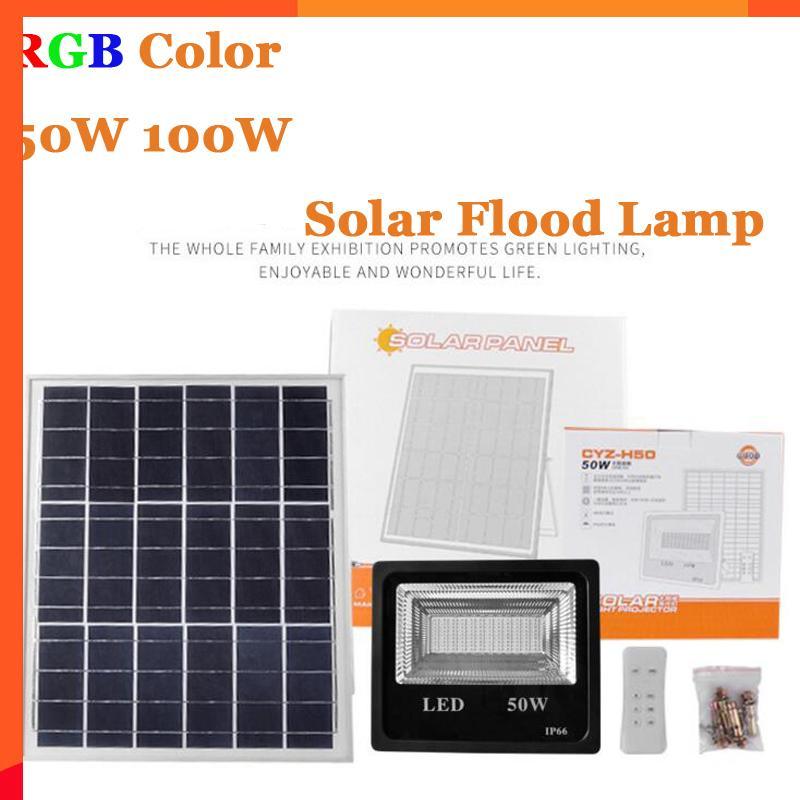 4PCS 50W 100W LED солнечный свет потока RGB Красочные Открытый Прожектор стены сада солнечной энергии светодиодный свет потока Пульт дистанционного управления