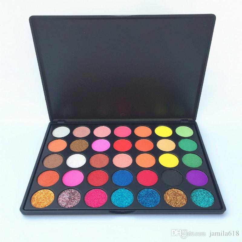 High Pigment No Label 35 Color Glitter Eyeshadows Palette Custom Makeup Cosmetics Pressed Powder Shimmer Eyeshadow Eye Shadow Palettes