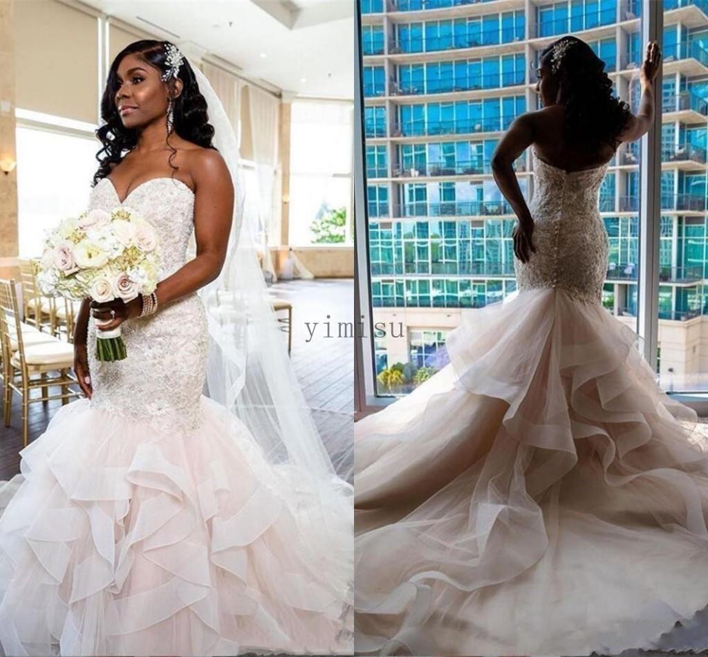 African Mermaid Wedding Dresses Sweet Heart Backless Sweep Train Cascading Ruffles Appliques Beads Garden Bridal Gowns vestidos de novia