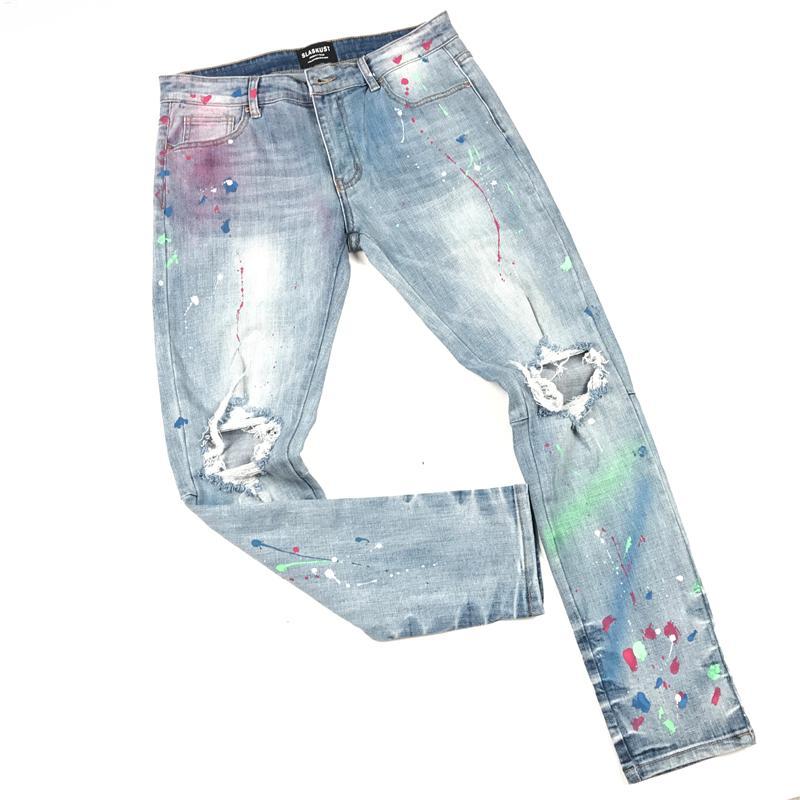 2020 Stylish Blue Multicolor Paint Splatter Jeans Skinny-Fit Distressing Jean Men Streetwear
