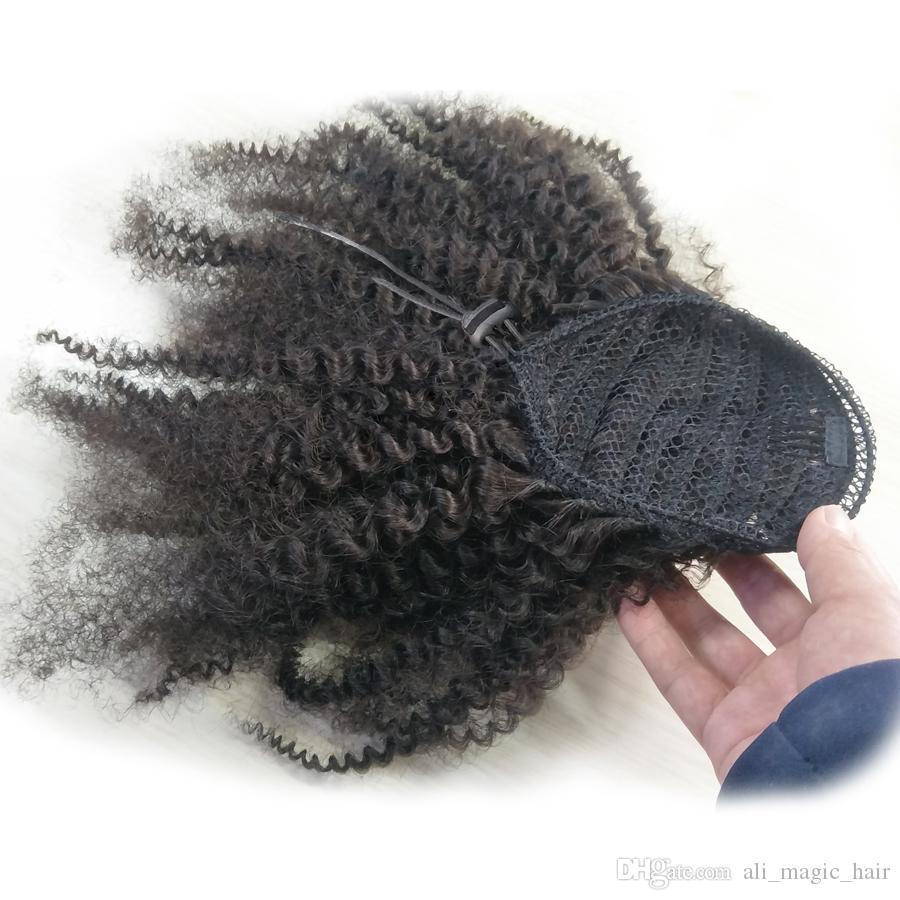 علي ماجيك 4B 4C الأفرو غريب مجعد ذيل الحصان ملحقات قطعة واحدة المنغولية كليب في الشعر التمديد الإنسان ذيل الحصان الأسود الطبيعي