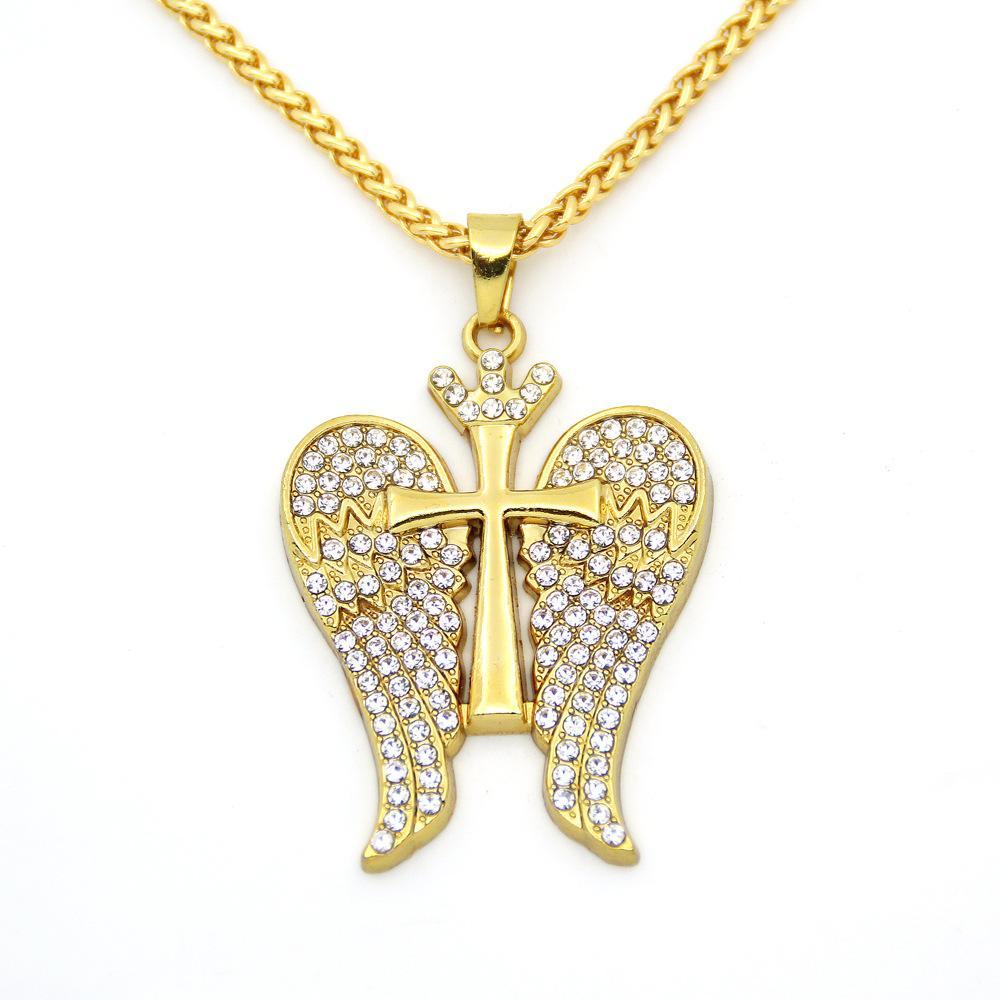 Wholesale-Crown Cross Hip Hop Necklace Angel Wings Pendant Necklace for Men and Women Bling Bling Golden Pendant