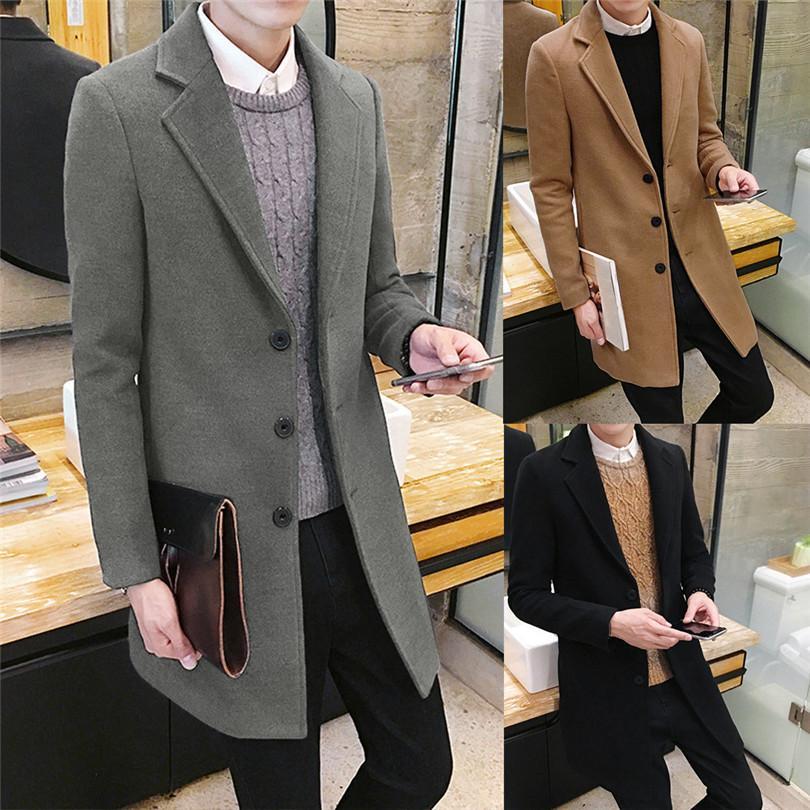 Männer Art und Weise Herbst-Winter-Formal Einreiher Figuring Overcoat tägliche beiläufige lange Wolljacke Outwear Top # 4M25