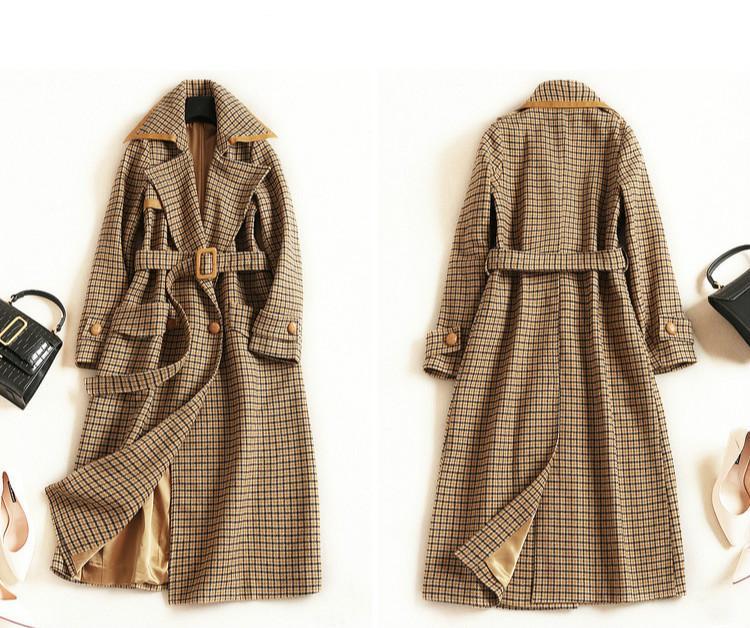 High Waist Plaid Ol Commuter Long Coat Women &#039 ;S European And American Fashion Windbreaker 2019 Autumn And Winter Lapel Long Sleeve