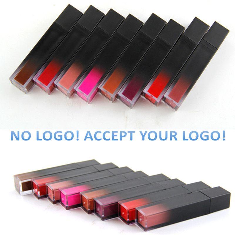 Keine Marke! Black Square Tube Lip Gloss Metal Liquid Customized Mattlipstick akzeptiert Ihr Logo