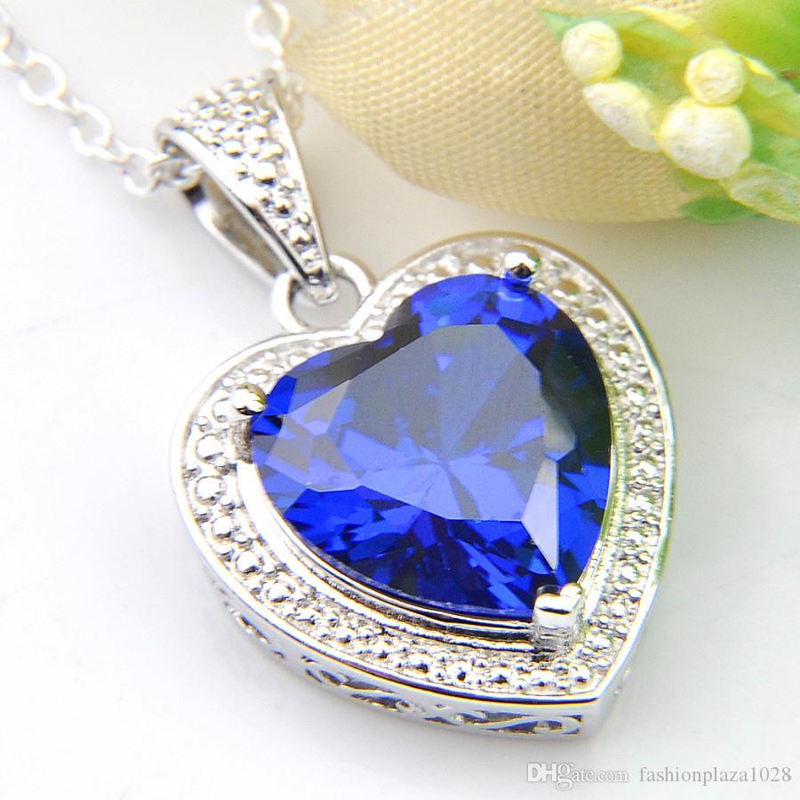Hurtownie Nowy 10 sztuk Luckyshine Blue Topaz Gems 925 Srebrne Kobiety Biżuteria Cyrkonia Serca Wisiorki Naszyjniki + Łańcuch