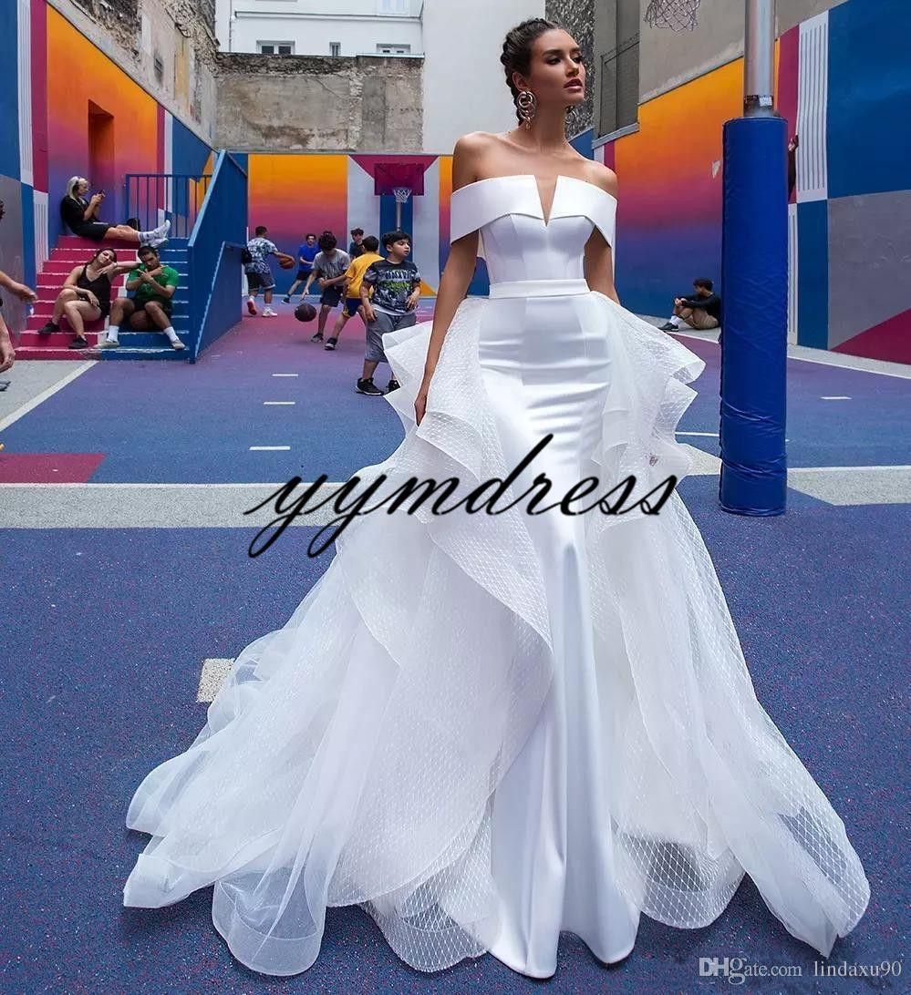 Berta robes de mariée sirène 2019 train détachable de l'épaule manches courtes plis dos ouvert robe de mariée plage robes de mariée sur mesure
