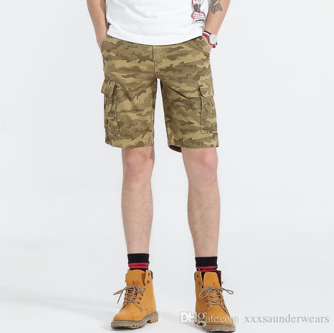 Erkek Yaz Tasarımcı Kamuflaj Şort Pantolon Fermuar Fly Relaxed Gevşek Midweight Homme Giyim Moda Günlük Erkek Giyim