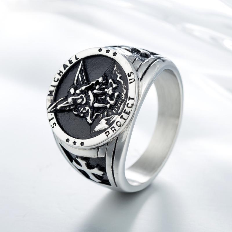 erkek yüzük Kızılhaç şövalyeleri otoriter için 2019 altın gümüş Haçlı paslanmaz çelik Erkek halka Yüksek Kalite Mücevher Templar
