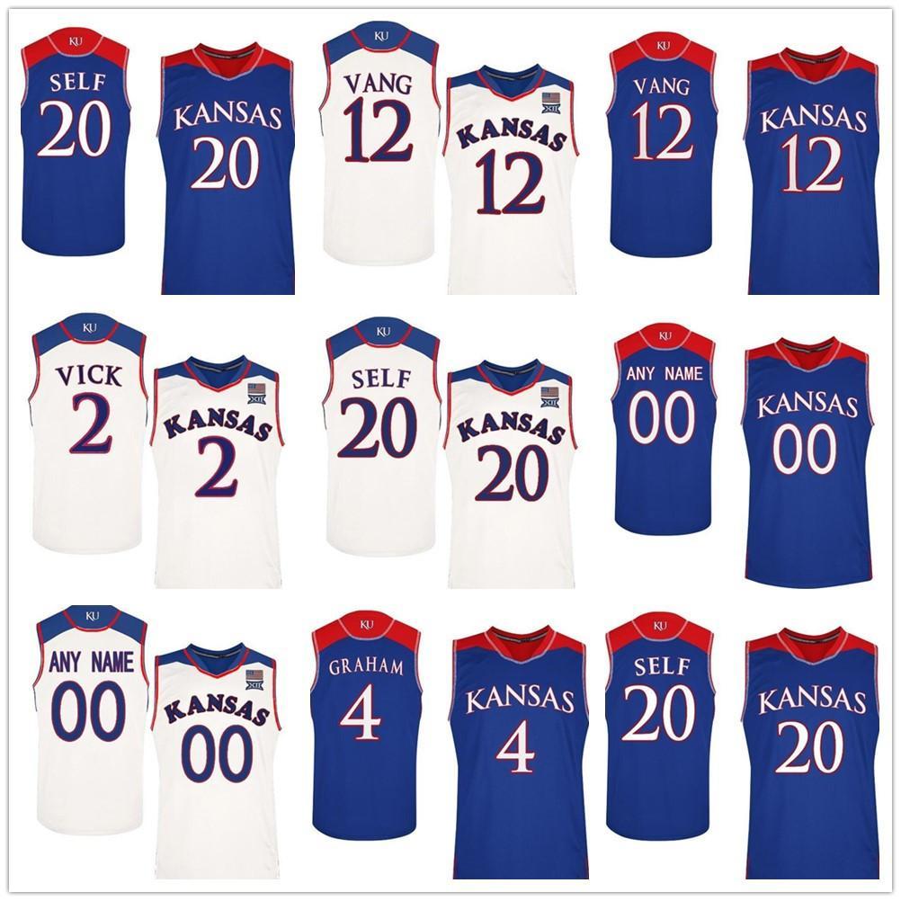 Personalizado Qualquer nome número faculdade basquete costurado jerseys kansas jayhawks personalizados 2 Lagerald Vick 35 Azubuike Jersey Top Quality