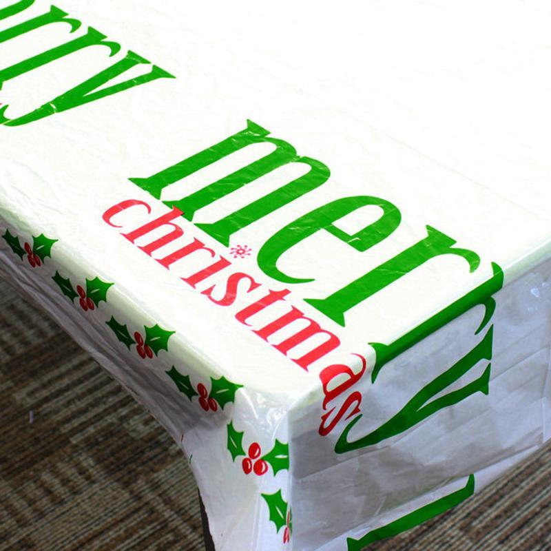 110X180cm عيد الميلاد مفرش المائدة حفلات حفلة رأس السنة الجديدة الطباعة مستطيلة PVC عيد الميلاد الغلاف الجوي الجدول تغطية زينة