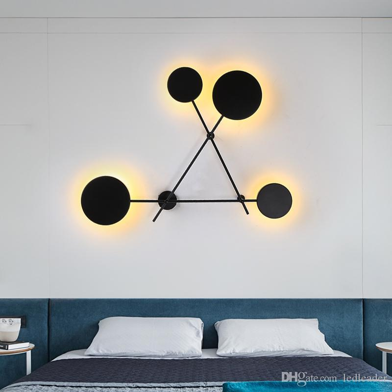 Скандинавская гостиная настенный светильник современный минималистский кованое железо круглый проход лестница лампа дизайнер спальня прикроватная лампа RW30