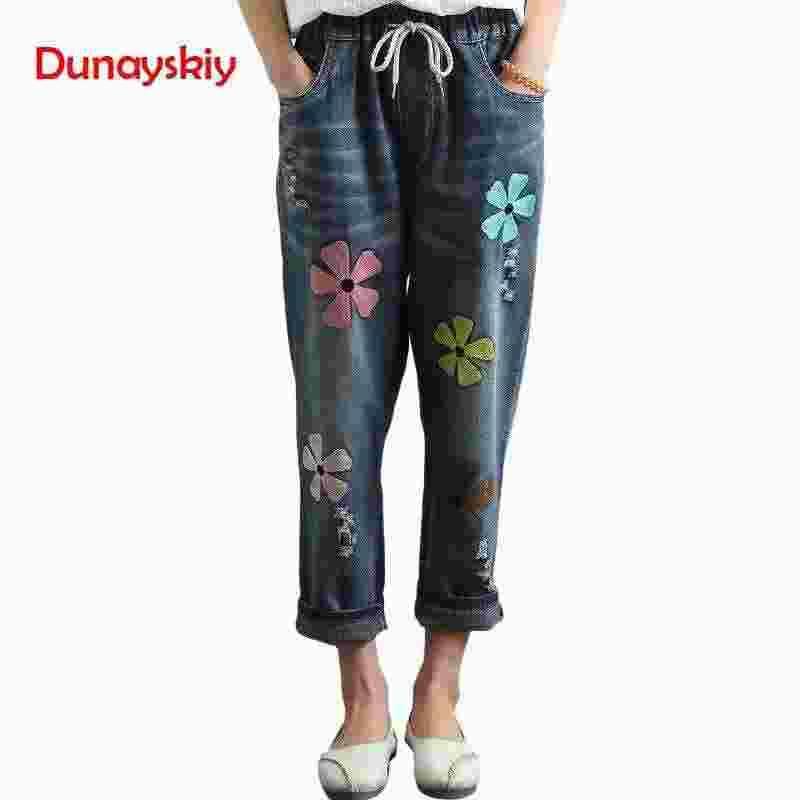 2019 Primavera Verano Nueva Línea Femenina Agujero Flores Bordadas Sueltas Nueve Puntos Jeans Pantalones Mujeres Moda de Alta Calidad Recta