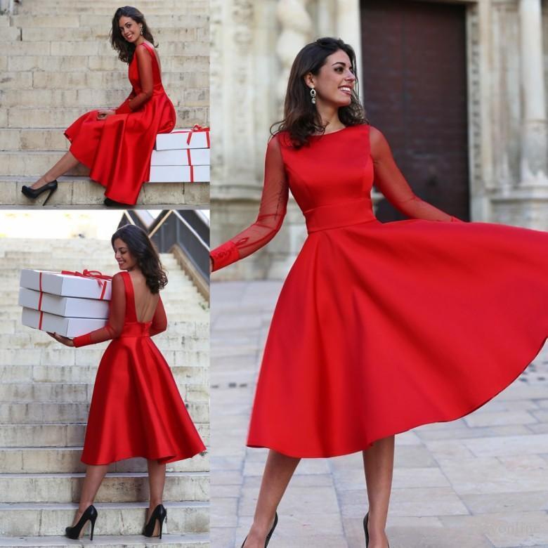 Sheer mangas compridas Red Baile Vestidos A Linha Jewel Neck Backless Tea Length Cocktail Dresses Prom Vestidos