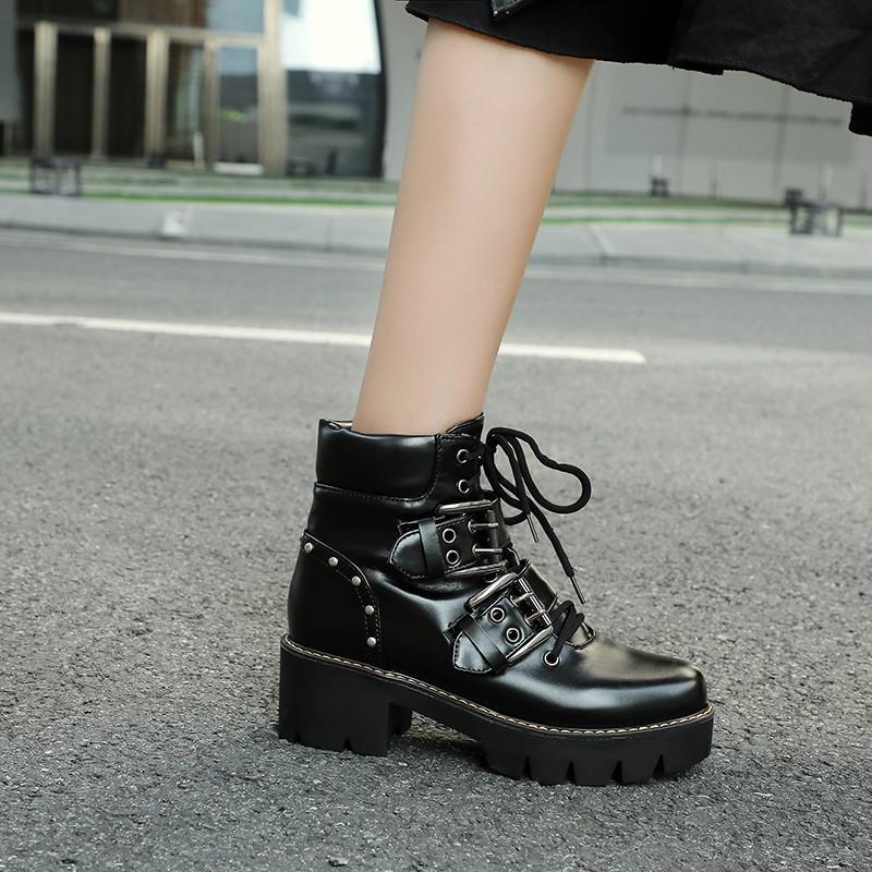2019 осень зима Gothic Leopard замша черный Узелок блок Высокий каблук голеностопного Байкер Combat Boots Punk Goth обувь