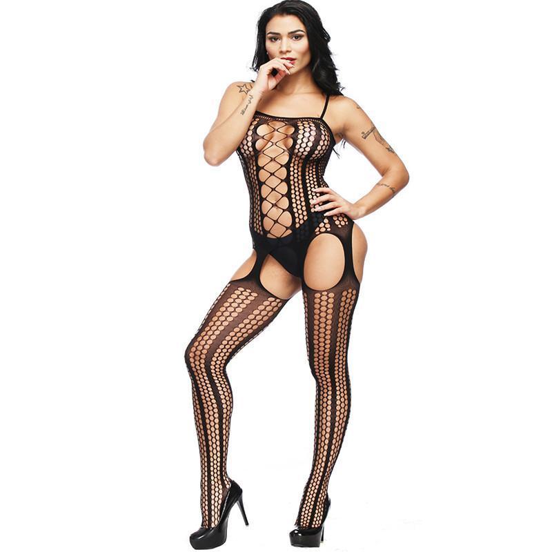 New Sexy lingerie erótica floral Hot Motif malha meias do corpo