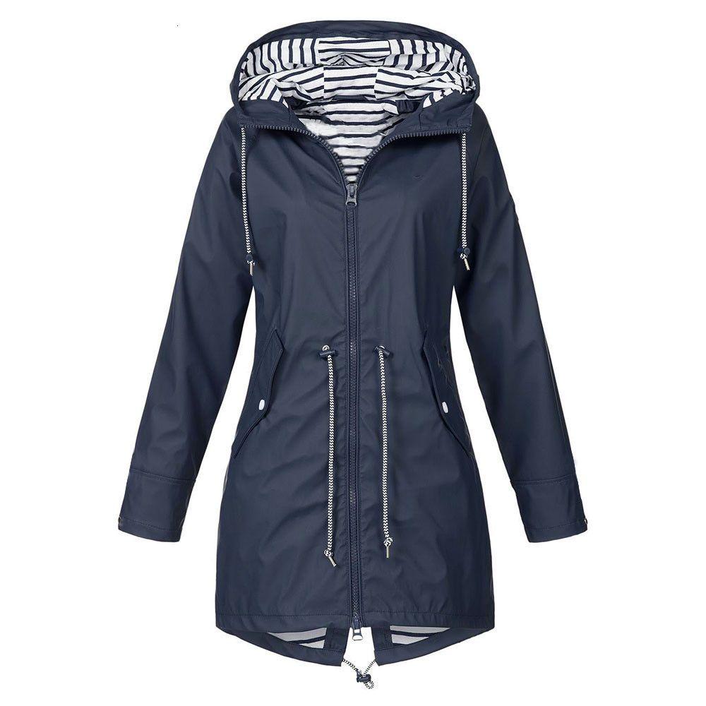 Women's Solid Rain Jacket Outdoor Hoodie Waterproof Long Coat Windproof Large size long hooded jacket 2019 free shipping 3.25 T190909